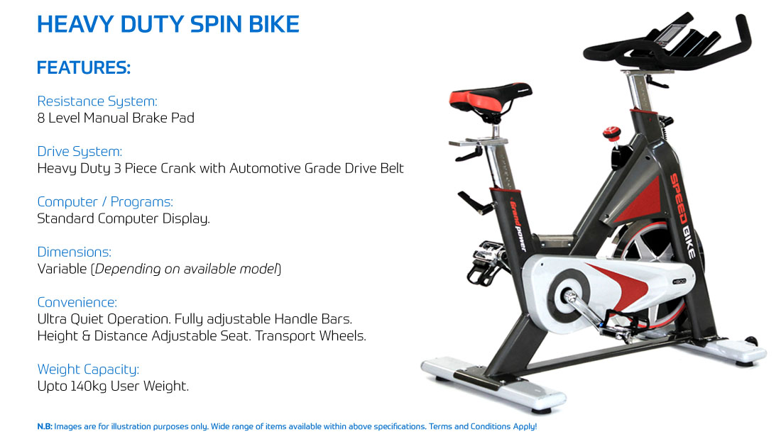 Heavy Duty Spin Bike Hire